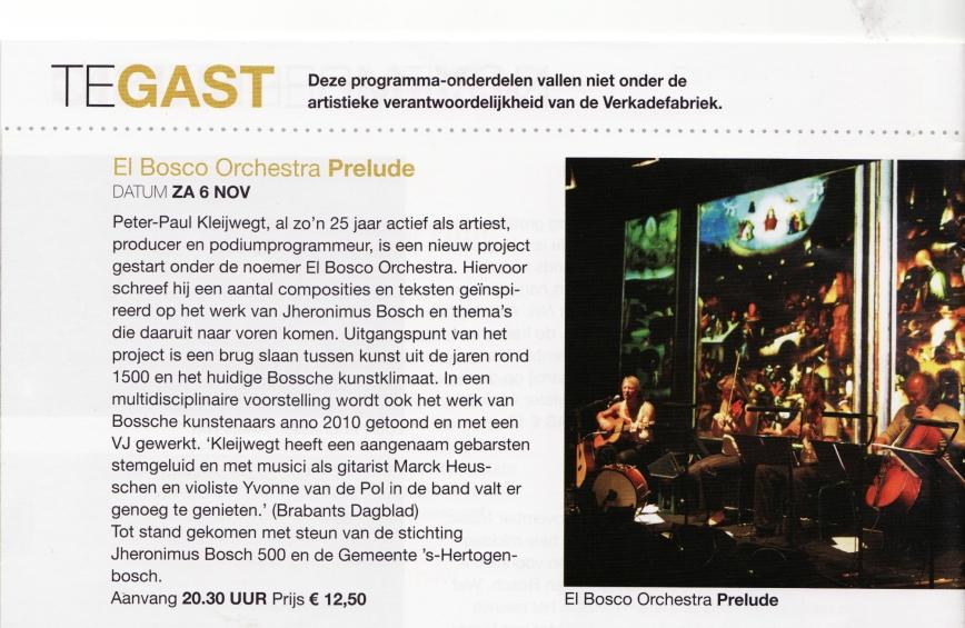 Programmaboekje Verkadefabriek NOV aankondiging El Bosco Orchestra blz 18