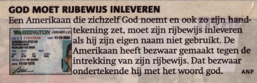 God moet rijbewijs inleveren (06-02-06)