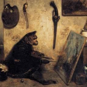 DECAMPS-Alexandre-Gabriel-The-Monkey-Painter