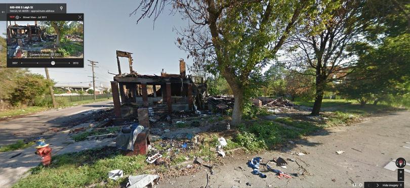 L'angle de Thaddeus et S. Leigh Street, Southwest Detroit, en 2011