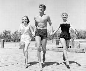 Clint Eastwood, Olive Sturgess, Dani Crayne in San Francisco, 1954.